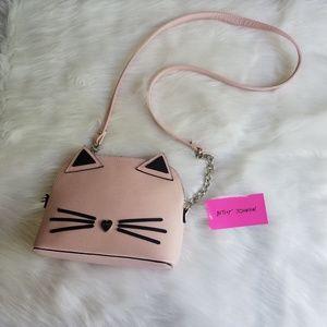 Betsey Johnson Kitty Cat Crossbody Purse Pink